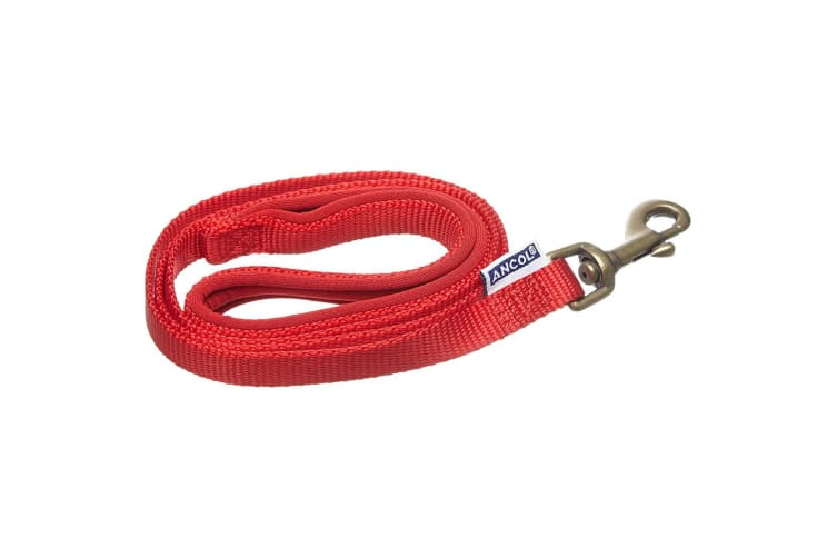 Ancol Nylon Padded Dog Lead (Red) (1m x 12mm)