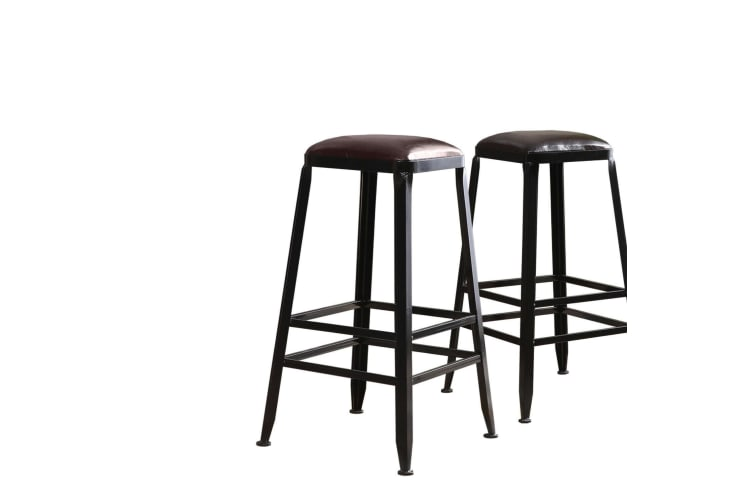 2x Vintage Rustic Bar Stool Retro Barstool Industrial Dining Chair Leather Seat