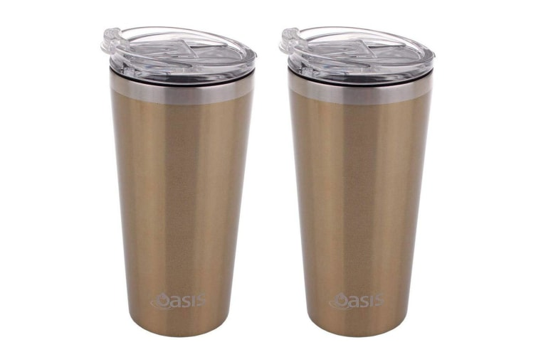 2PK Oasis 480ml Double Wall Insulated Stainless Steel Travel Cup w Lid Champagne