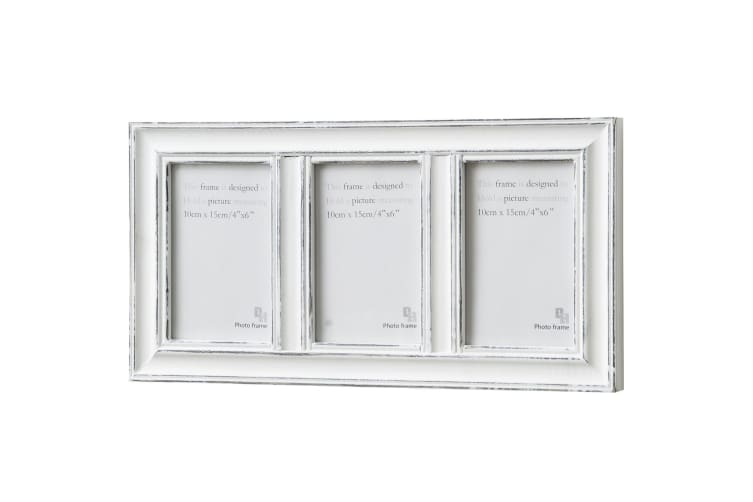 Hill Interiors 3 Window Photo Frame With Antique Finish (White) (One Size)