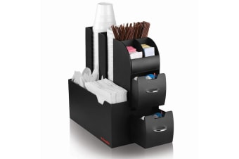 Esselte Coffee/Cup Station Countertop Caddy Home Kitchen Organiser/Holder Black