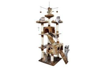 PawZ 2.1M Cat Scratching Post Tree Gym House Condo Furniture Scratcher Tower Brown