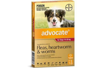 Advocate for Dogs 10-25 kgs - 3 Pack - Red - Flea & Heartworm Control (Bayer)