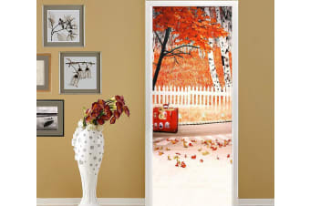 3D Maple Wood Chair Fence Painting Door Mural Woven paper (need glue), XL 205cm x 80cm (HxW)(81''x31'')