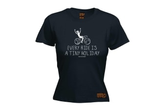 Ride Like The Wind Cycling Tee - Every Is A Tiny Holiday - (XX-Large Black Womens T Shirt)