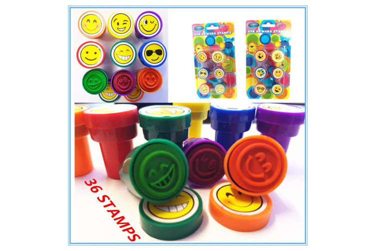 36 X EMOJI SERIES FUN STAMPS SMILEY FACE- BIRTHDAY PARTY GIFT LOOT BAG KIDS fdfd