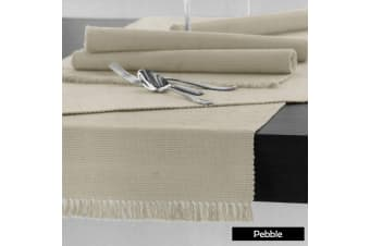 Cotton Ribbed Table Runner 45cm x 150cm - PEBBLE