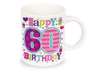 Simon Elvin Happy 60th Birthday Female Age Milestone Mug (White/Multicoloured)