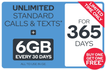 Kogan Mobile Prepaid Voucher Code: MEDIUM (365 Days | 6GB) - Buy One Get One Free