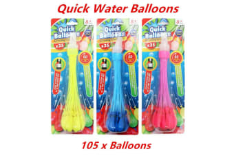 105 x Quick Water Balloon Fast Fill Summer Event Party Kids Toy Self Tied DIY Fun Bomb