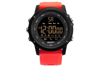 TODO Bluetooth V4.0 Smart Watch 1.1 Fstn Lcd Rechargeable Ip67 Remote Camera - Red