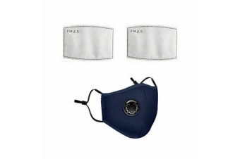 Navy Washable Reusable N95 Anti Air Pollution Face Mask With Respirator &2 Filters-2 Packs