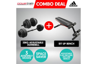 Powertrain 20kg Dumbbell Home w/ Adjustable Adidas 10230 Bench Weights