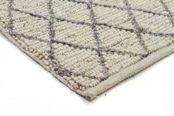 Luxury Madras Felted Wool Rug Blue Ivory 280X190cm