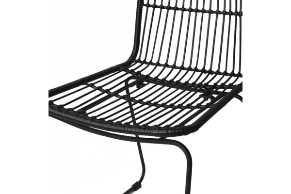 Set of 2 Rattan Dining Chairs (Black)