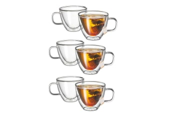 Avanti Sienna Twin Glass Wall 6pc 250ml Thermal Glasses Espresso Coffee Tea Cup