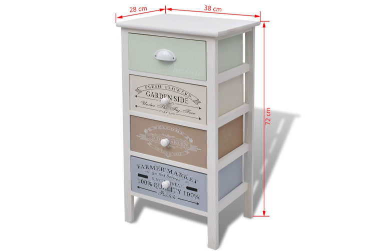 vidaXL French Storage Cabinet 4 Drawers Wood