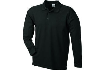 James and Nicholson Unisex Heavy Pique Long-Sleeved Polo (Black) (M)