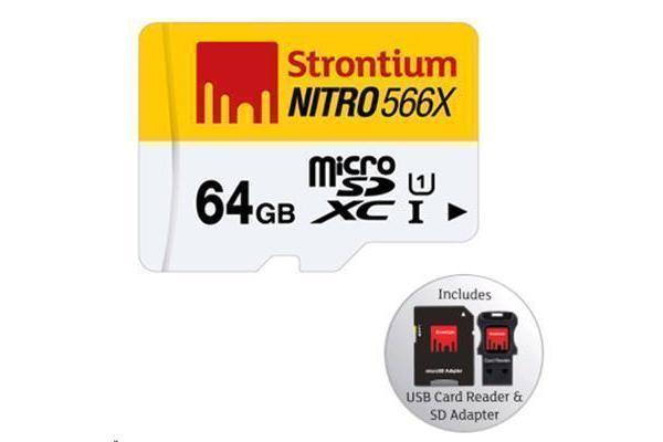 STRONTIUM Nitro Series 64 GB Ultra High Speed Micro SDXC UHS-1 566X Card with Adapter and USB Card