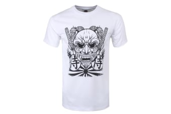 Unorthodox Collective Mens Samurai Mask T-Shirt (White)