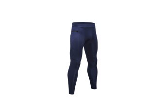 Men'S Compression Pants Pocket Baselayer Cool Dry Ankle Leggings Active Tights - Navy Blue M