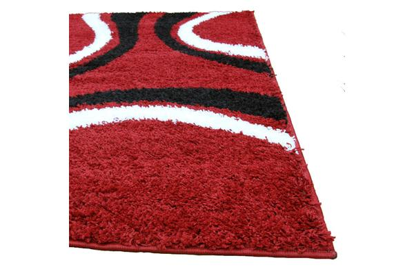 Stylish Curves Rug Red Black 150x80cm