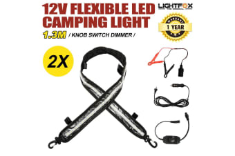 LIGHTFOX 2x 1.3M 12V Flexible Led Camping Light Caravan Boat Waterproof Bar Outdoor Strip