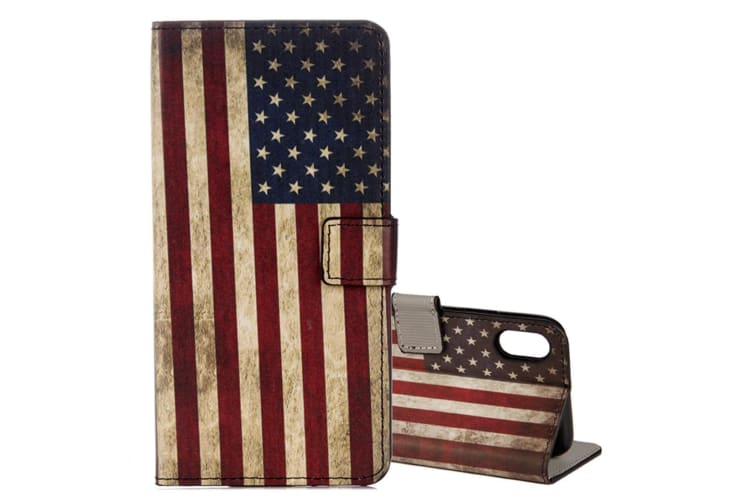 """For iPhone XS X Wallet Case d """"US Flag"""" High-Quality Protective Leather Cover"""