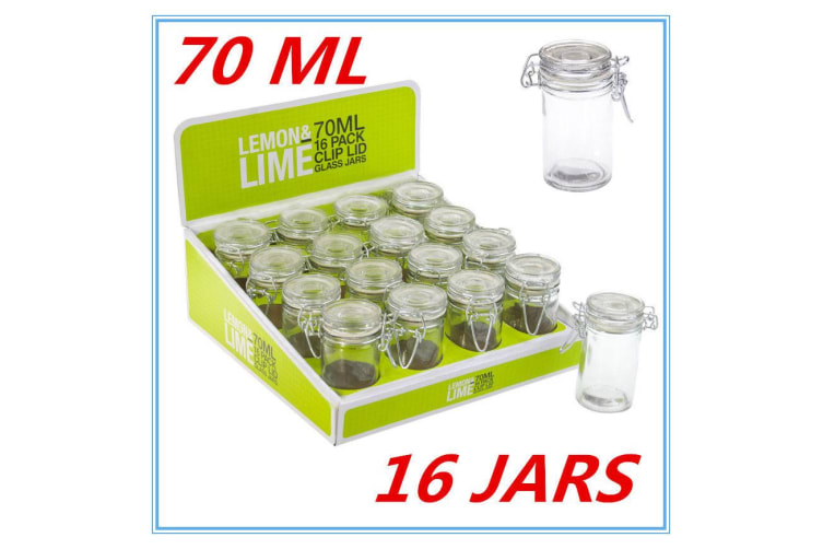 16 x 70ml Spice Mini Glass Jars with Clip Lid Bottle Jam Storage Container Jar