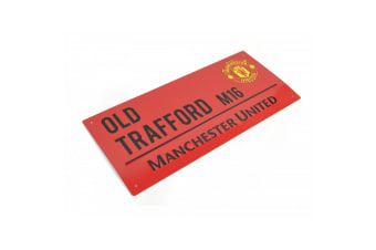 Manchester United FC Official Coloured Metal Street Sign (Red/Black)