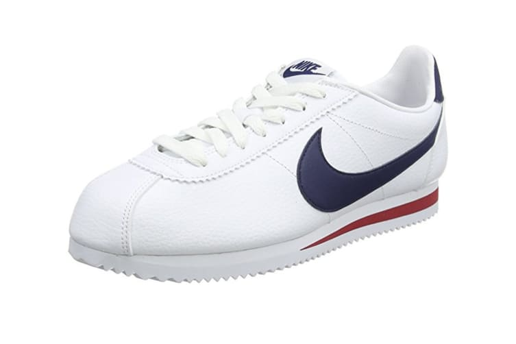 Nike Men's Classic Cortez Leather Shoe (White/Navy/Red, Size 12)