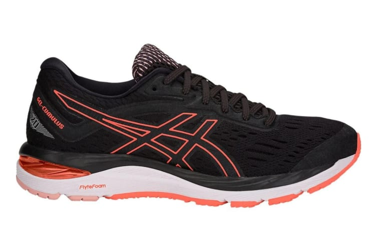 ASICS Women's Gel-Cumulus 20 Running Shoe (Black/Flash Coral, Size 6)