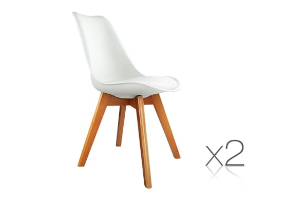 Set of 2 Dining Chair PU Leather Seat (White)