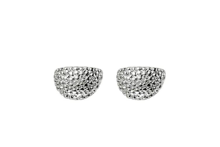 Intrigue Womens/Ladies Pebble Effect Half Circle Studs (Silver) (One Size)