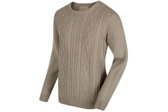 Regatta Mens Koby Mid Weight Cable Knit Sweater (Parchment) (S UK)