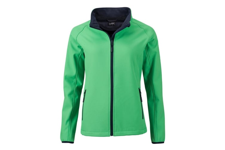 James and Nicholson Womens/Ladies Promo Softshell Jacket (Green/Navy) (M)