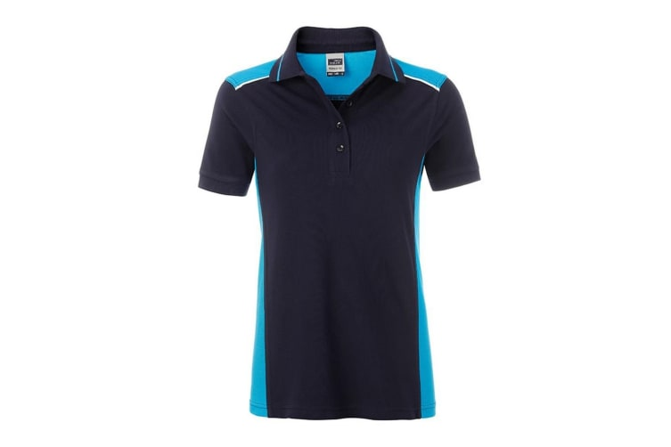 James and Nicholson Womens/Ladies Workwear Level 2 Polo (Navy/Turquoise) (3XL)
