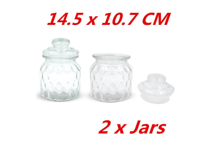 2 x SMALL QUILTED STORAGE GLASS JARS JAR GLASS SEALED LID PATTERNED DECAL KITCHEN