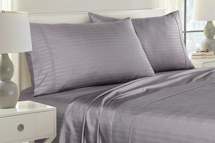 Royal Comfort Striped Bamboo Blend Pillowcase Twin Pack (Charcoal)