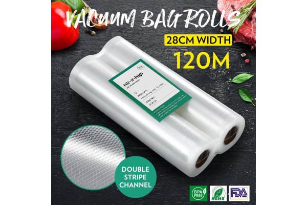20 Rolls 28cm*600cm Vacuum Seal Bags(total 120M) Foodsaver Rolls Double-Sided Twill Food Saver Bag