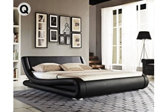 Queen Size Faux Leather Curved Bed Frame - Black