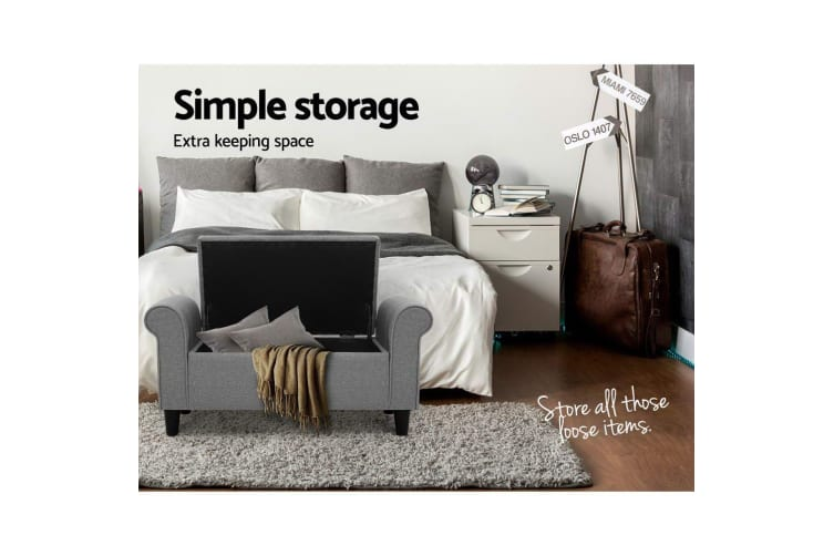 Storage Ottoman Grey Blanket Box Chest  Large Foot Stool Linen Toy