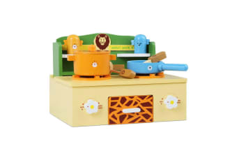 Keezi Kids Kitchen Play Set Pretend Wooden Toys Cooking Toy Children Cookware