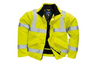 Portwest Unisex Hi-Vis Bomber Jacket (S463) / Workwear / Safetywear (Pack of 2) (Yellow) (XL)