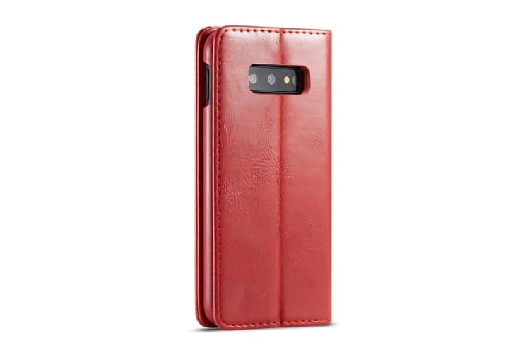 For Samsung Galaxy S10e Case  Red Wild Horse Texture Stand Flip Wallet Cover