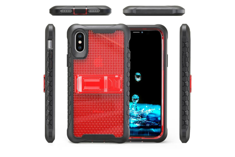 Red Honeycomb For iPhone XS X Case Armour Phone Cover KickStand