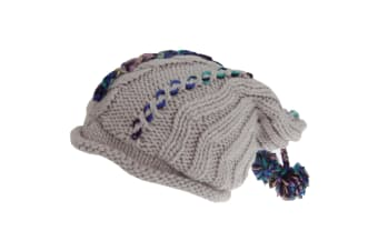 Hawkins Collection Adults Unisex Hand Knitted Pom Pom Hat (Grey) (One Size)
