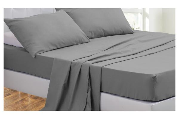 4 Piece Bed Sheet Set,Flat,Fitted,Pillowcases DARK GREY Super King