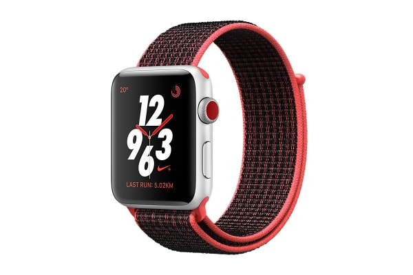Apple Watch Series 3 (Silver, 38mm, Bright Crimson/Black Nike Sport Loop, GPS + Cellular)