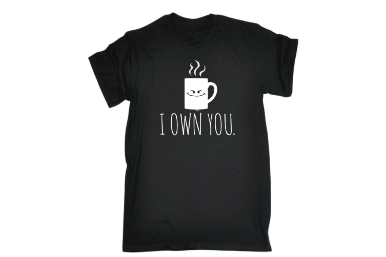 123T Funny Tee - I Own You Coffee - (X-Large Black Mens T Shirt)